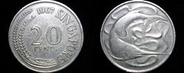 1967 Singapore 20 Cent World Coin - Swordfish - $3.49