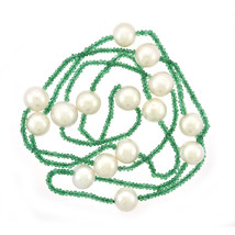 12mm Pearl & Natural Emerald Necklace - $454.41