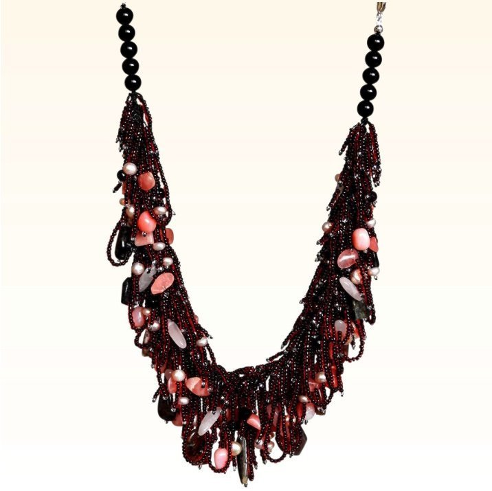 Tourmaline, Pink Opal, Rose Quartz and Garnet Necklace with Mauve Pearls