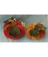 Set of 2 Velveteen Pumpkins, Rust & Orange - $20.00