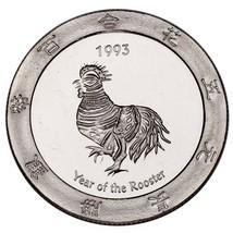1993 Jahr Of The .999 Hahn Silber 1 Unze Gaming Rund Artischocke Joe's C... - $62.81