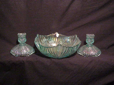 Fenton Console Beauty Bowl with matching Candlesticks