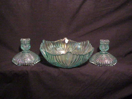 Fenton Console Beauty Bowl with matching Candlesticks - $40.00