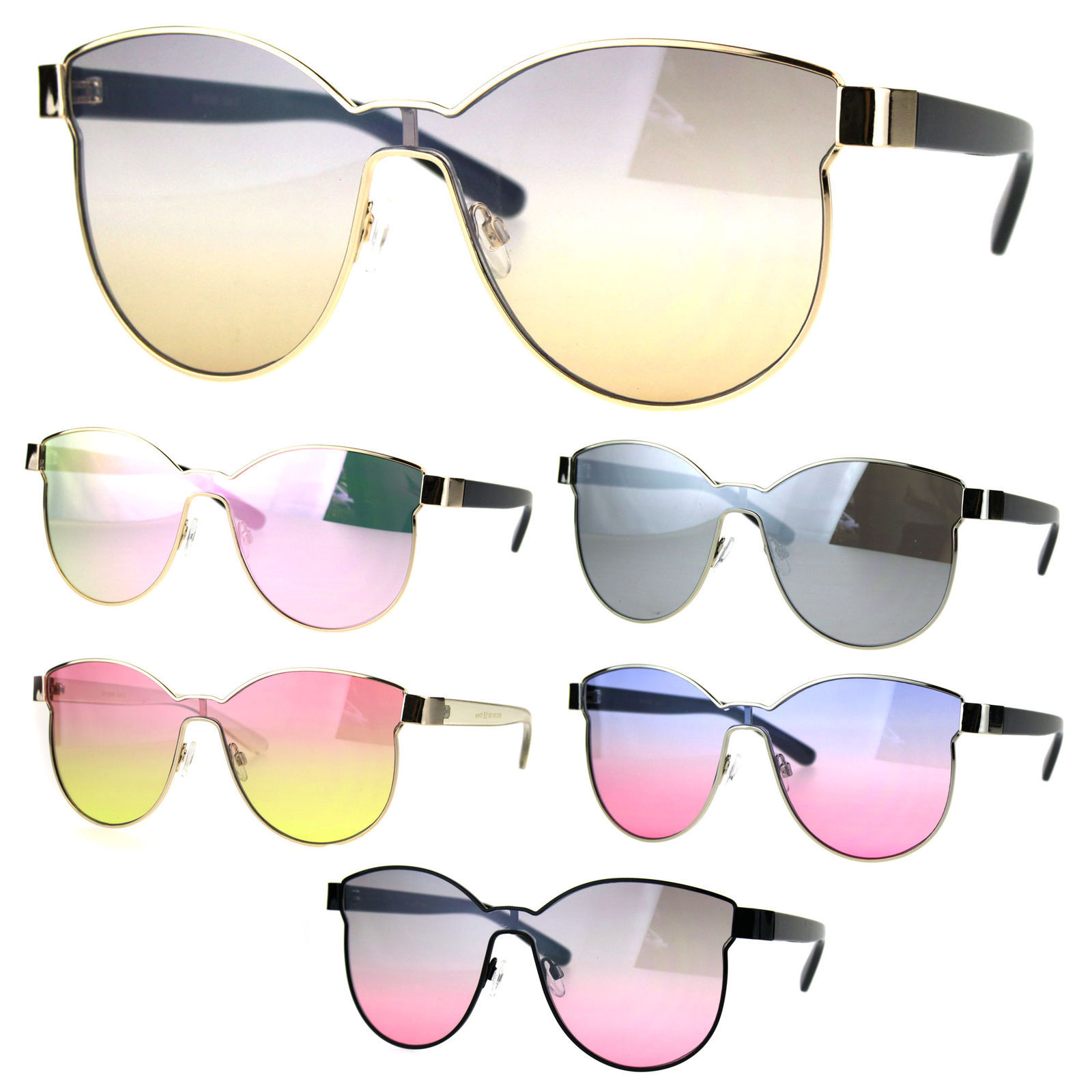 Womens Trendy Chic Panel Shield Butterfly Designer Sunglasses