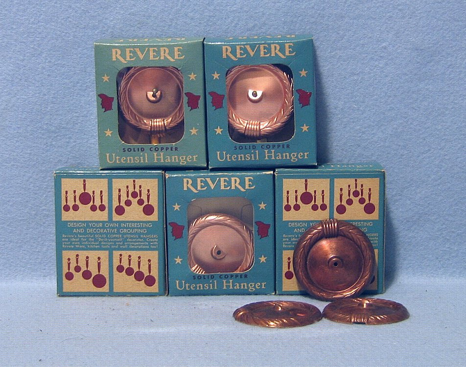 Revere 5 Vintage Solid Copper Utensil Hangers with Boxes