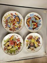 Email De Limoges 1855 Butterflies Set Of 4 Salad / Dessert Plates Rare - $140.25