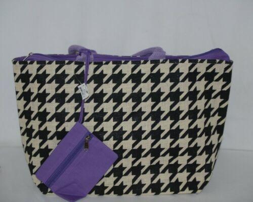 GANZ Brand ER39334 Style 101 Large Burlap Black Cream Purse Purple Handle