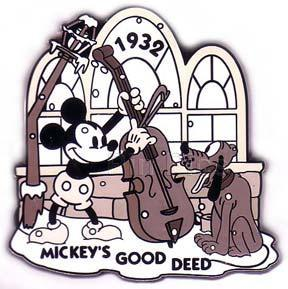 Disney Mickey Pluto  fiddle 1932 black & White Pin/Pins