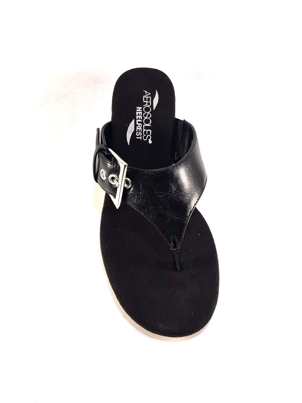 Aerosoles Flower Black Wedge Platform Thong Slip On Sandals