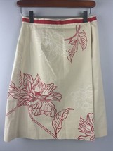 Talbots Wrap Skirt 2 Petite Ivory Red Floral Big Print Knee Length Cotto... - $27.72