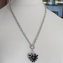 925 STERLING SILVER NECKLACE WITH SPINEL FINELY WORKED BIG HEART PENDANT, ITALY image 2