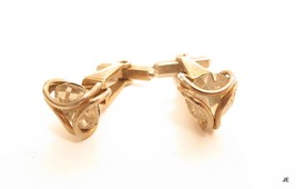Vintage Gold Tone Plated Large Caged Sparkly Clear Rhinestone Cufflinks*... - $24.70