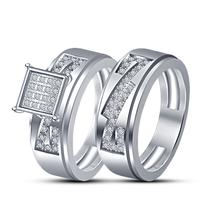 Round Cut Sim Diamond Bridal Wedding Ring Set 14k White Gold Plated 925 Silver - $93.68