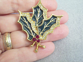 Liz Claiborne Lc Holly Rhinestone Enamel Christmas Brooch Pin Vintage Holiday - $10.88
