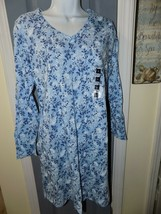 Classic Elements Blue Flower Long Sleeve V-Neck Nightgown Size S Women's... - $29.00