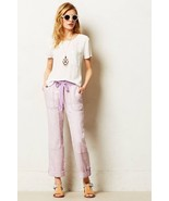 NWT ANTHROPOLOGIE LACED LILAC LINEN CARGOS PANTS by HEI HEI 26 - $63.74