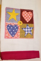 Kitchen Hand Towels set of 2 Velour Applique Patchwork Hearts Stars Red Yellow image 3