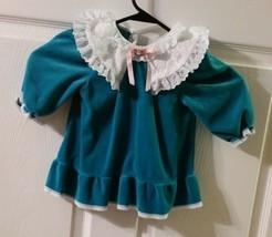 Vintage Girls Teal Green Dress Long Sleeve Dress W/ White Lace Collar Ba... - $14.85