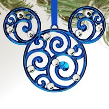 Disney Parks Mickey Mouse Icon Filigree Ornament Blue New - $39.95