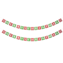 Merry Christmas Banners Party Supplies Seasonal Holiday Home Decor Red G... - $13.99