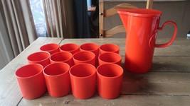 Vintage Dansk Red Melamine 12 Cups 1 Pitcher Gunnar Cyren Stackable Mid ... - $47.51