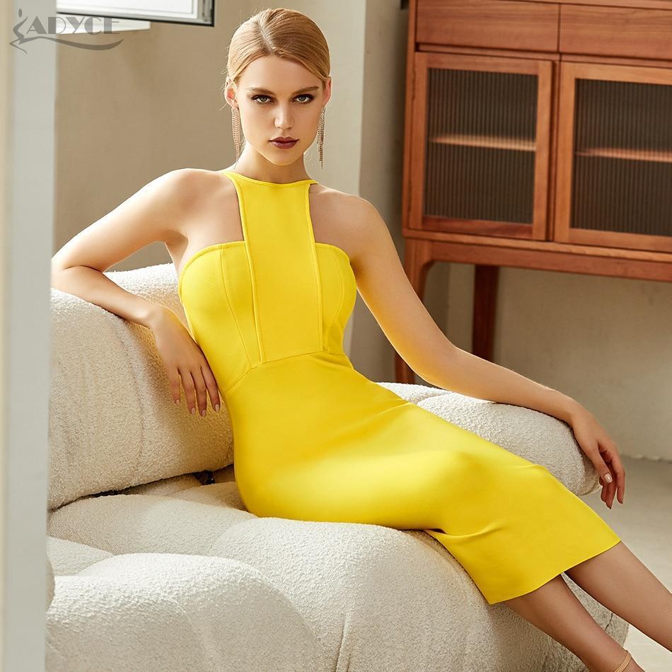 Mer women strapless yellow bodycon bandage dress sexy sleeveless halter celebrity evening runway