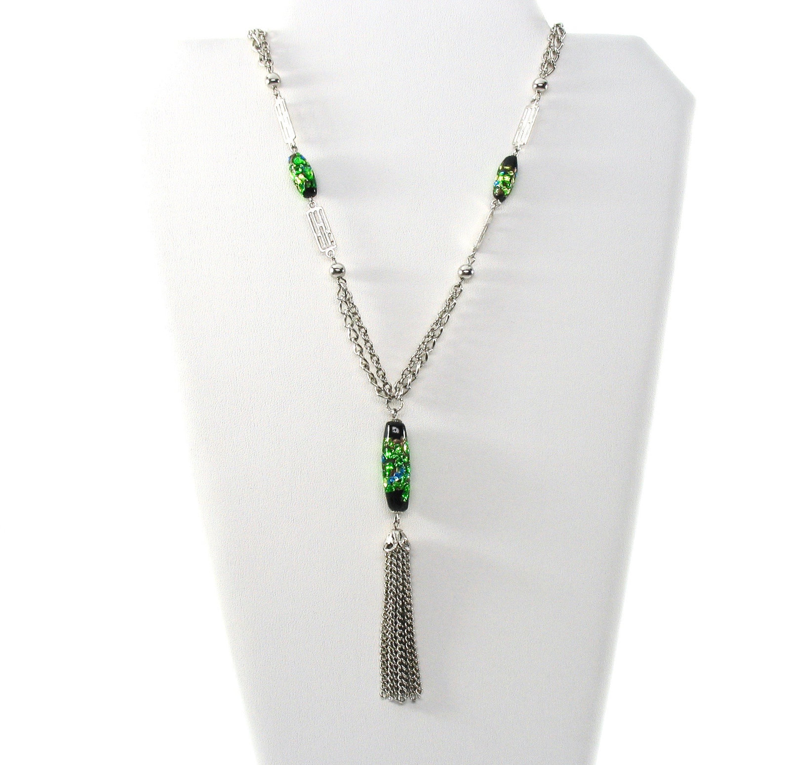 Vintage Tassle Necklace, Iridescent Beads, Green Glass Dangle Bead, Double Chain
