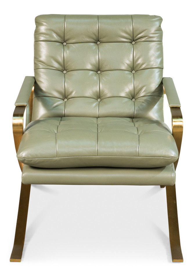 Awesome Celadon Green Top Grain Leather Brushed Stainless Steel Gold Frame,26''L