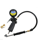Digital Pressure Gauge Valves Tire Inflator Dial Dual Chuck Clip-On 0-25... - $38.56