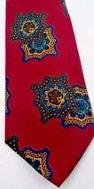 100% Silk Hathaway Necktie Tie Deep Red w/ Geometric Paisley Medallions USA Made - $7.97