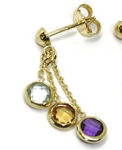 18K YELLOW GOLD PENDANT EARRINGS, BLUE TOPAZ, AMETHYST, CITRINE, THREE WIRES   image 2