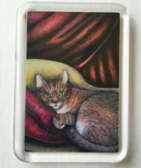 Cat Art Acrylic Small Magnet - Lounging Cat - $4.00