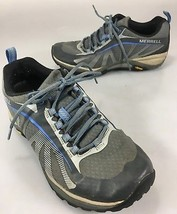 Merrell Womens 7 Running Trail Shoes Grey Blue Vibram Soles  - $43.61