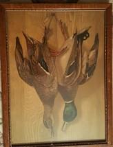 1890 J Hoover Philadelphia Chromolithograph Hanging Mallard Framed w Glass - $225.00