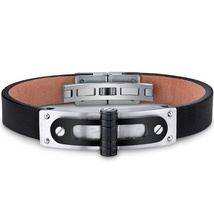 Mens Stainless Steel & Leather Black Hinge & Rivet Bracelet - $54.99