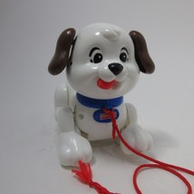 Fisher Price Puppy Pull Toy, 2005 White spotted Puppy pretend play no ba... - $6.92