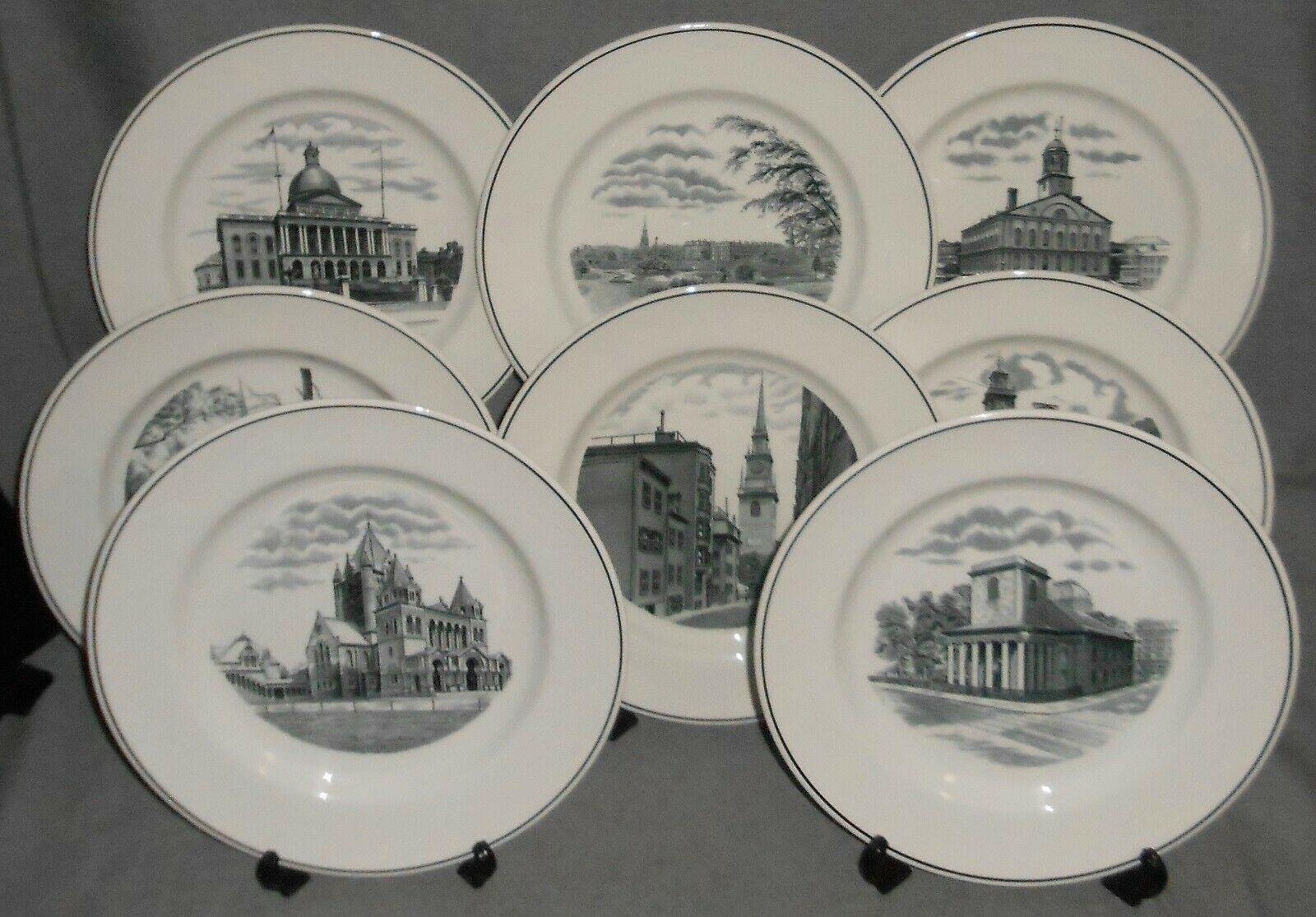 Complete Set of (8) COPELAND SPODE - BOSTON SCENES PATTERN Dinner Plates ENGLAND - $227.69