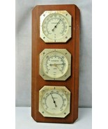 Vintage Wood Sunbeam Barometer Thermometer Hydrometer Made in USA MCM Deco - $30.00