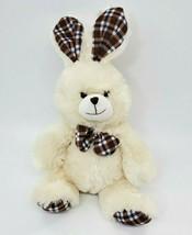 "15"" Best Made Cream Bunny Rabbit Easter w Plaid Ears Plush Stuffed Toy B303 - $19.99"