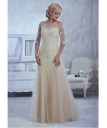 Tulle Trumpet Illusion Bateau with sweetheart neckline Floor-Length Moth... - $196.00