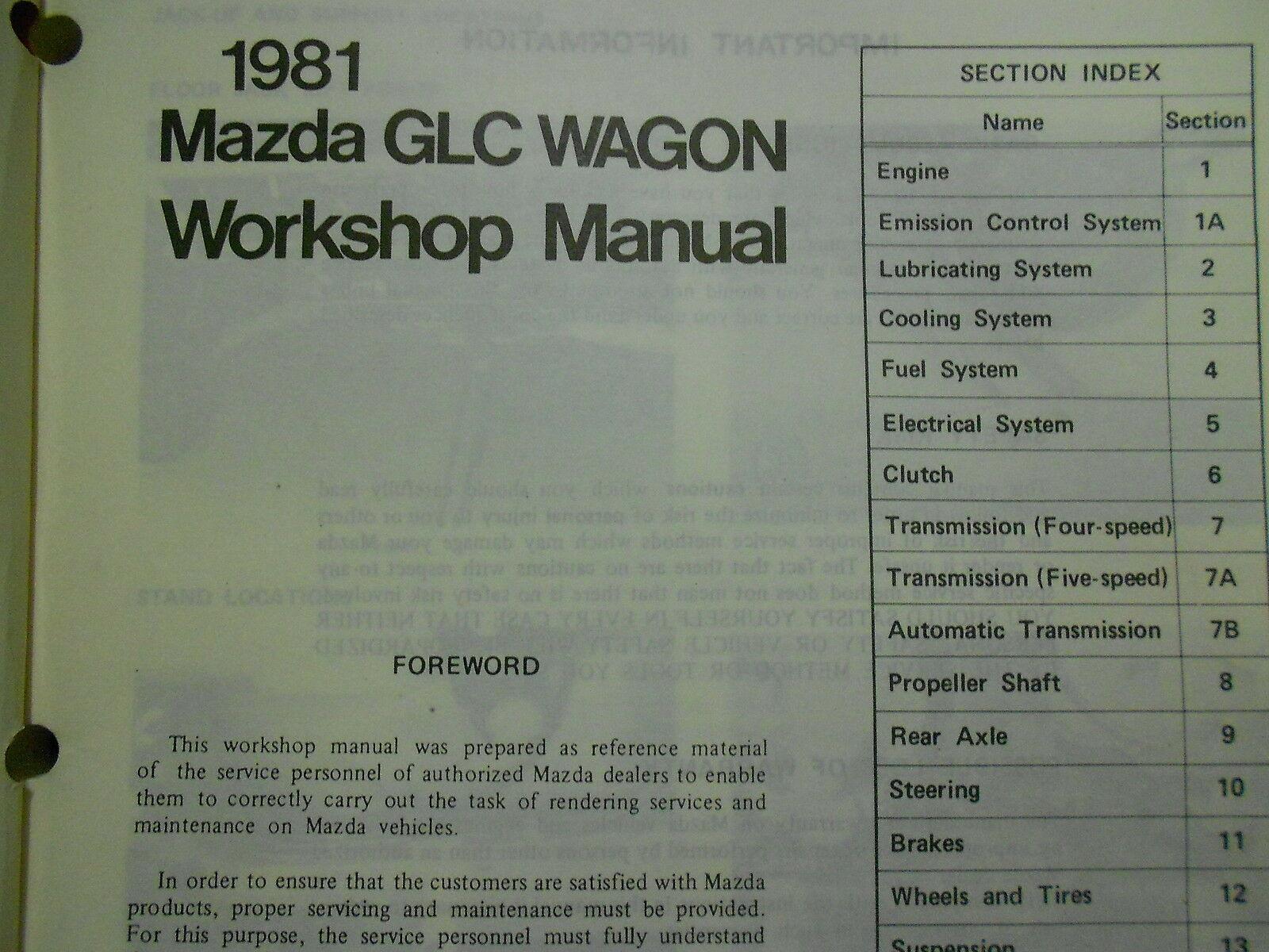 1981 Mazda Glc Wagon Service Reparatur Shop Manuell Set Fabrik OEM Rare Books 81