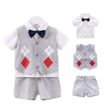 Fairy Baby Baby Boy Formal Outfit Short Sleeve Tuxedo Plaid Gentleman Su... - $31.43