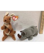 Ty Beanie Babies Pouch Kangaroo & Spike Rhinoceros Rhino Original w/ Tag... - $9.89