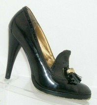 Sam Edelman 'Truman' black patent leather round toe tassel loafer heels 5M - $33.30