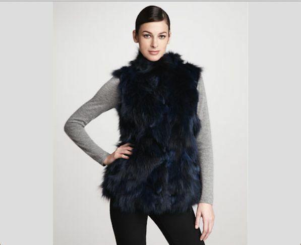Jocelyn Bicolor Black Navy Roadie Fox Fur Vest New $1.1