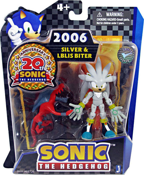 Sonic 20th Anniversary: 3.5'' 2006 Silver & Iblis Biter Action Figure NEW!