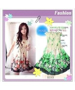 Green Floral Elastic Ruched Bodice Chiffon Dress Size S - $5.00