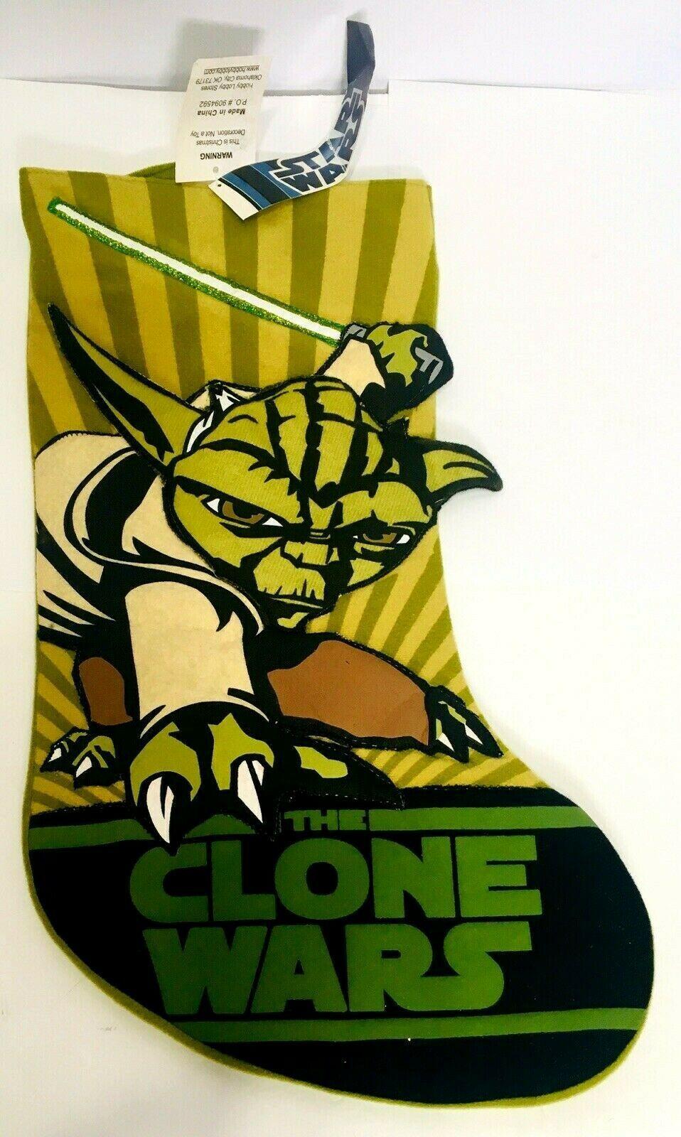 """Star Wars YODA Clone Wars Green Christmas Stocking Retired Kurt Adler 17"""" ~ NEW  - $12.00"""