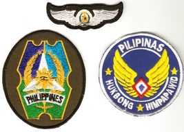 Philippines Air Force PAF 2 Shoulder Patches & Pilot Wings Patch  - $19.99