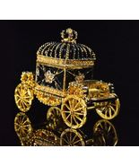 Black Gold Crown Royal Carriage Faberge Vintage Imperial Europe Jewelry Box - $54.84